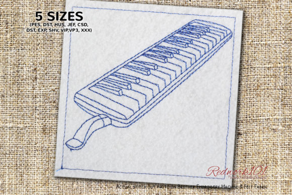 Melodica Wind Instrument Lineart Music Embroidery Design By Redwork101