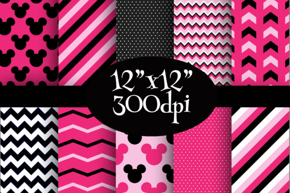 Print on Demand: Minnie Mouse Inspired Digital Paper Pack Graphic Backgrounds By Party Pixelz