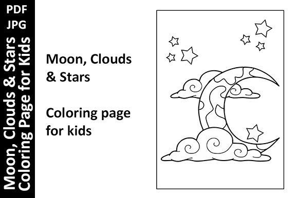 Moon Clouds Stars Coloring Page for Kids Graphic Coloring Pages & Books Kids By Oxyp