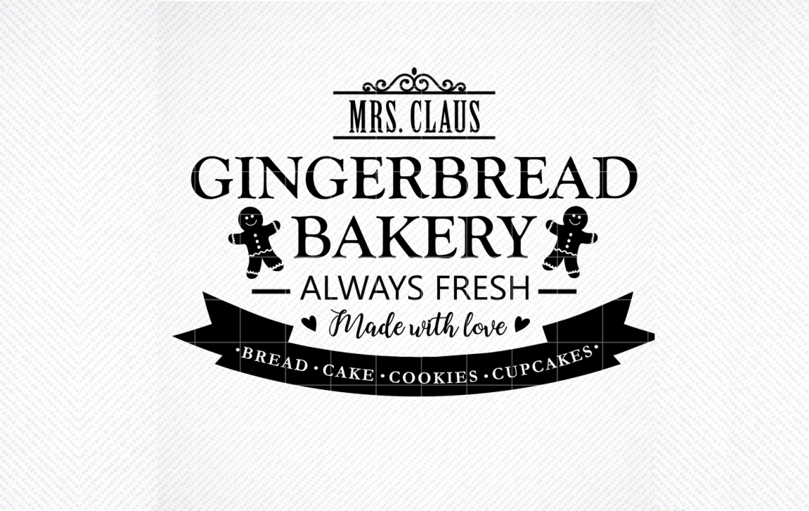 Mrs Claus Gingerbread Bakery Sign Graphic By Svg Den Creative Fabrica