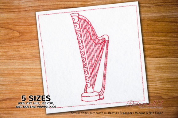 Pedal Harps Music Embroidery Design By Redwork101