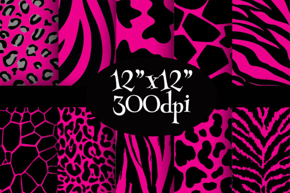 Print on Demand: Pink Wild Safari Digital Paper Pack Graphic Backgrounds By Party Pixelz