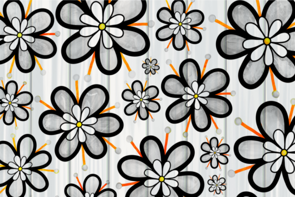 Pretty Doodle Daisy Flower Overlays Graphic Design