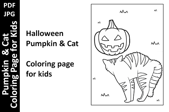 Pumpkin & Cat Coloring Page for Kids Graphic Coloring Pages & Books Kids By Oxyp