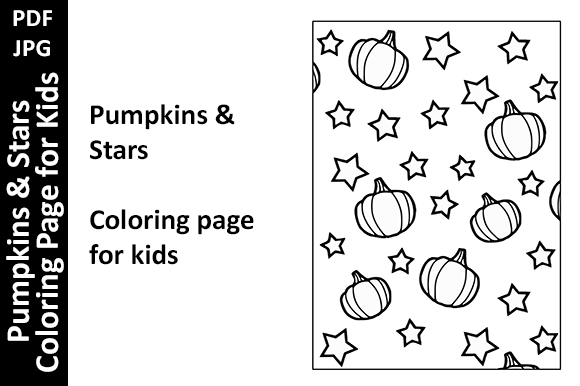 Pumpkins & Stars Coloring Page for Kids Graphic Coloring Pages & Books Kids By Oxyp