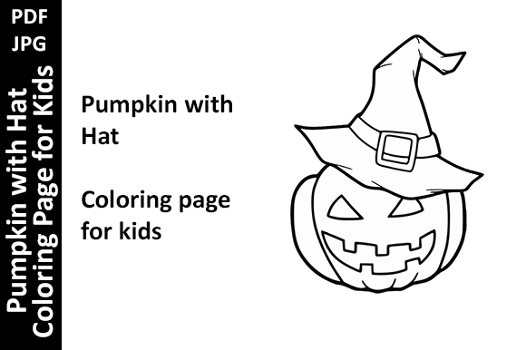 Pumpkins with Hat Coloring Page for Kids Graphic Coloring Pages & Books Kids By Oxyp