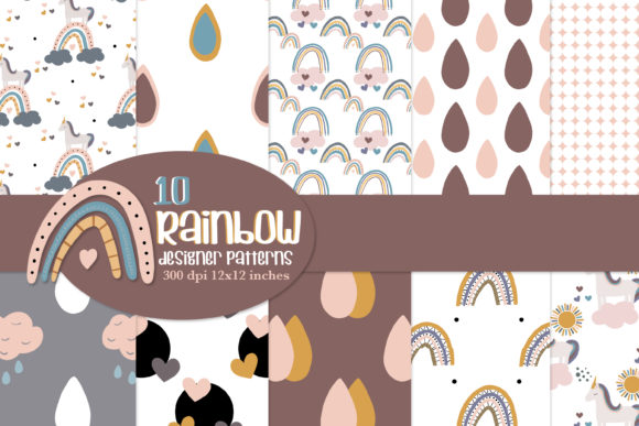 Rainbow Repeat Patterns, Seamless Paper Graphic Patterns By thejaemarie