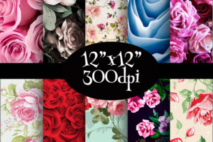 Print on Demand: Roses Flowers Texture Digital Paper Pack Graphic Backgrounds By Party Pixelz