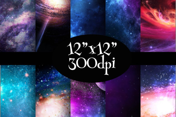 Print on Demand: Space Galaxy Digital Paper Pack Graphic Backgrounds By Party Pixelz