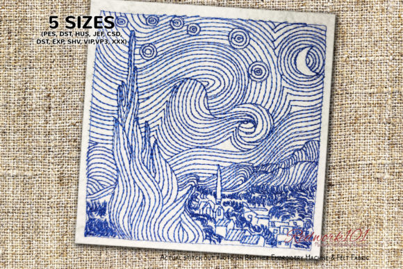 Starry Night by Van Gogh Redwork Backgrounds Embroidery Design By Redwork101