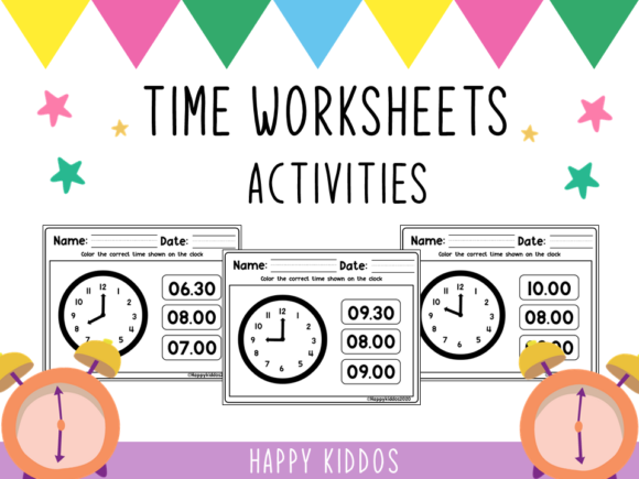 Time Worksheets Activities Set 2 Graphic 1st grade By Happy Kiddos