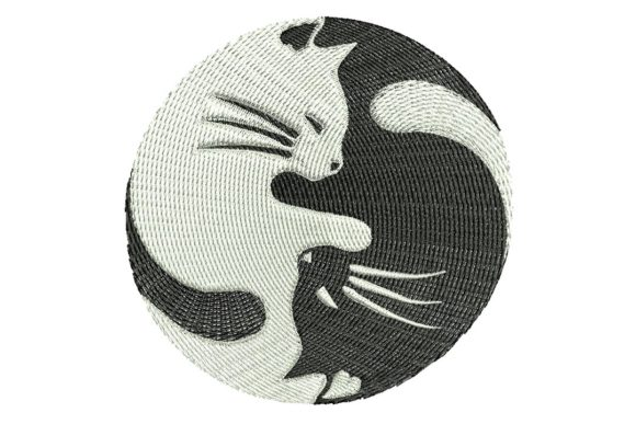 Ying Yang Cats Cats Embroidery Design By BabyNucci Embroidery Designs