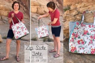 Zip Side Tote Bag Pattern Graphic Sewing Patterns By lifesewsavory