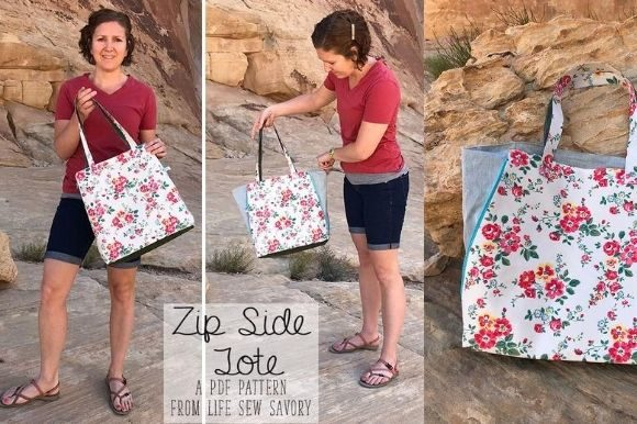 Zip Side Tote Bag Pattern Graphic