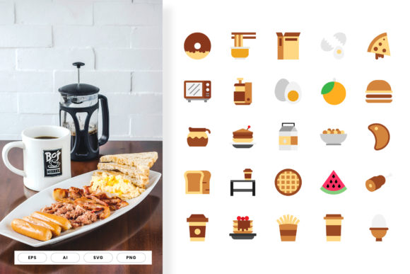 Print on Demand: Breakfast Icon Flat Color Graphic Icons By hai hai