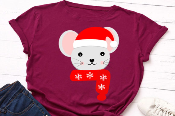 Print on Demand: Christmas Mouse Clipart Graphic Illustrations By Lillyrosy