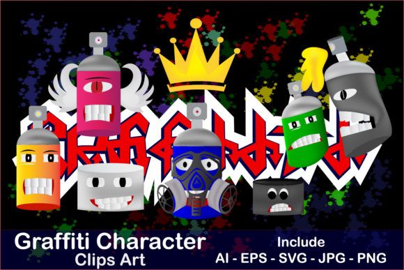 Print on Demand: Clip Art of Graffiti Characters Graphic Crafts By Mahesa Design