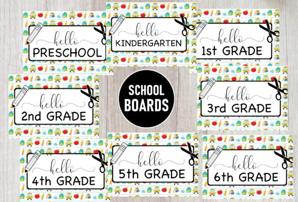 Print on Demand: First Day of School Signs Bundle Graphic Teaching Materials By A to Z Parties