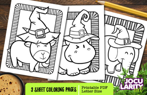 Print on Demand: Goat, Hippo, Elephant in Halloween Mode Graphic Coloring Pages & Books Kids By JocularityArt