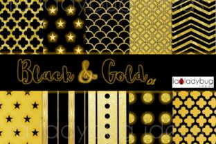 Gold and Black Digital Papers. Golden. Graphic Patterns By LaLadybugIdeas