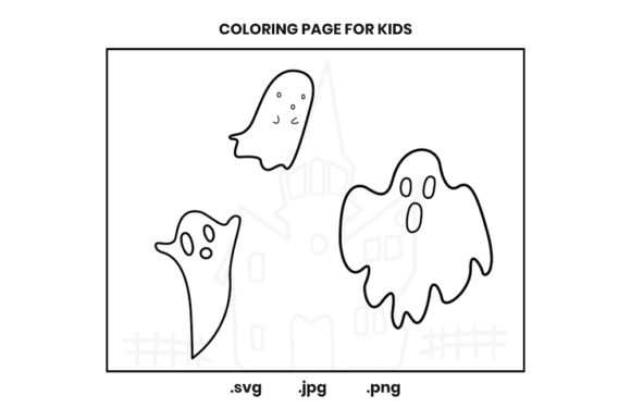 Print on Demand: Halloween Ghosts Coloring Page Graphic Coloring Pages & Books Kids By doridodesign