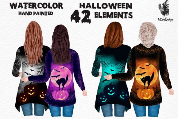 Halloween Besties Clipart Graphic Illustrations By LeCoqDesign