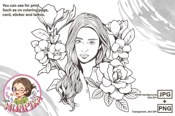 Line Art Beautiful Girl and Flowers Graphic Coloring Pages & Books Adults By huapika