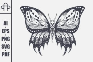 Print on Demand: Skull Butterfly Vector Illustration Graphic Crafts By Andypp