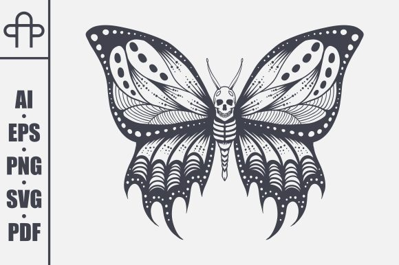 Print on Demand: Skull Butterfly Vector Illustration Grafik Plotterdateien von Andypp