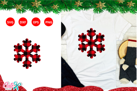 Snowflake with Buffalo Plaid Graphic Crafts By Cute files