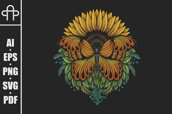 Print on Demand: Sunflower Butterfly Vector Illustration Graphic Crafts By Andypp