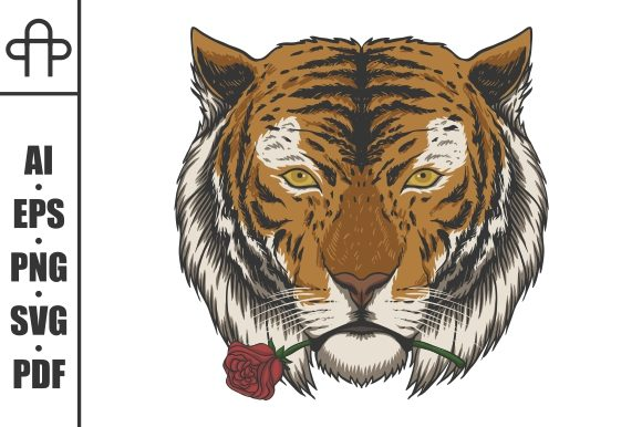 Print on Demand: Tiger Biting Rose Vector Illustration Graphic Illustrations By Andypp