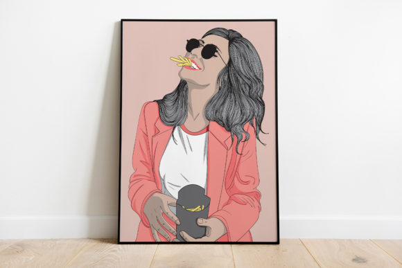 Print on Demand: Wall Art Girl Eating French Fries Graphic Illustrations By Saydung89