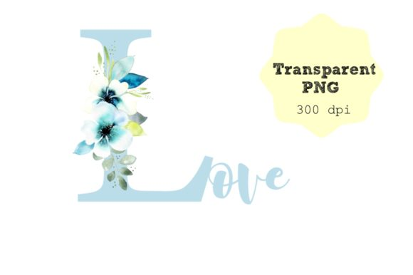 Print on Demand: Watercolor -Floral Blue Love Letters Graphic Crafts By Anines Atelier