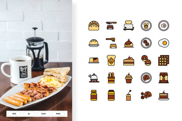 Print on Demand: Breakfast Icon Line Color Vol II Graphic Icons By hai hai