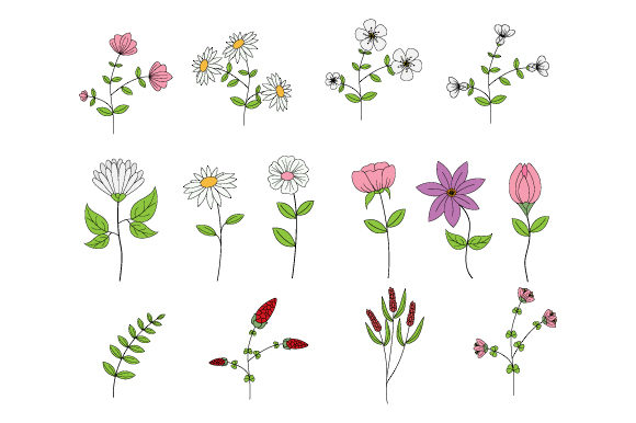 Print on Demand: Cute Flower Collection Graphic Illustrations By curutdesign