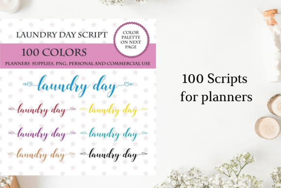 100 Laundry Day Font Clipart, Cleaning Graphic Objects By Aneta Design
