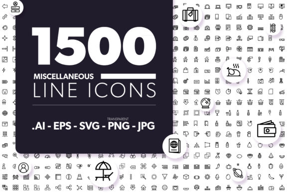 Print on Demand: 1500 Miscellaneous Line Icons Graphic Icons By borisfarias