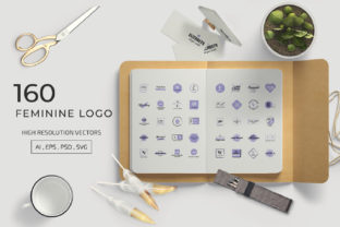 Print on Demand: 160 FEMININE LOGO SET Graphic Logos By toonsteb