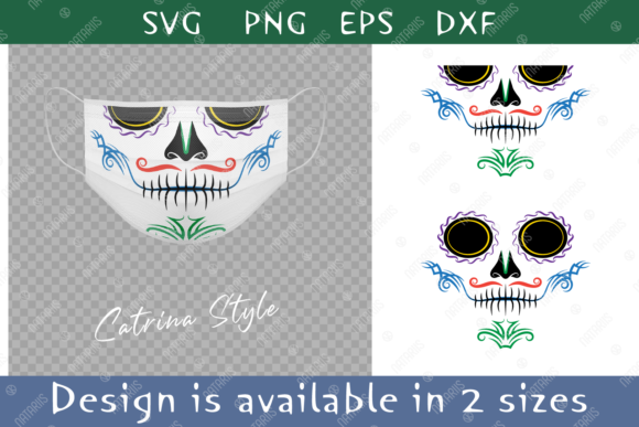3 Colorful Sugar Skulls for Face Mask. Graphic Item