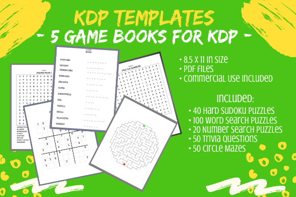 Print on Demand: 5 KDP Adult Activity Puzzle Game Books Graphic KDP Interiors By Tomboy Designs
