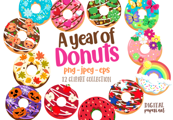 Print on Demand: A Year of Donuts Clipart Set Graphic Illustrations By DigitalPapers