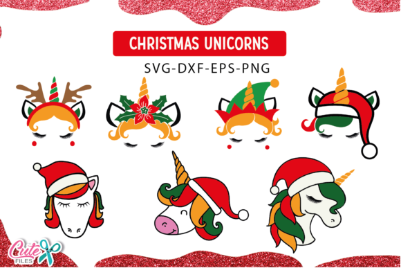 Christmas Unicorn Face Bundle  Graphic