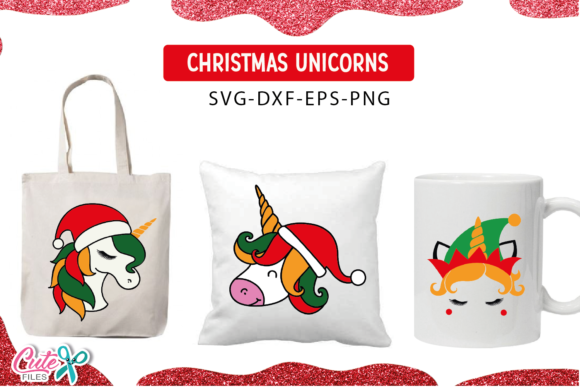 Christmas Unicorn Face Bundle  Graphic Download