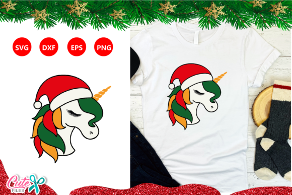 Christmas Unicorn Face Bundle  Graphic Item
