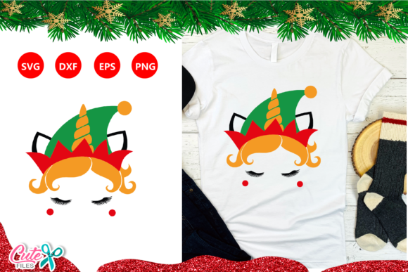 Christmas Unicorn Face with Elf Hat SVG Graphic Crafts By Cute files