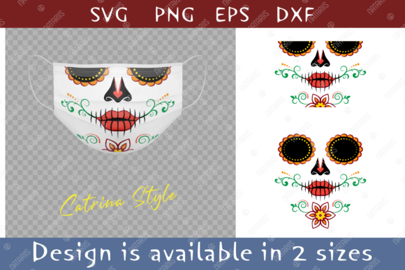 Colorful Sugar Skull Flower Face Mask. Graphic