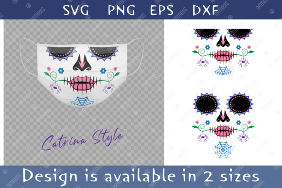 Colorful Sugar Skull Spider Face Mask. Graphic