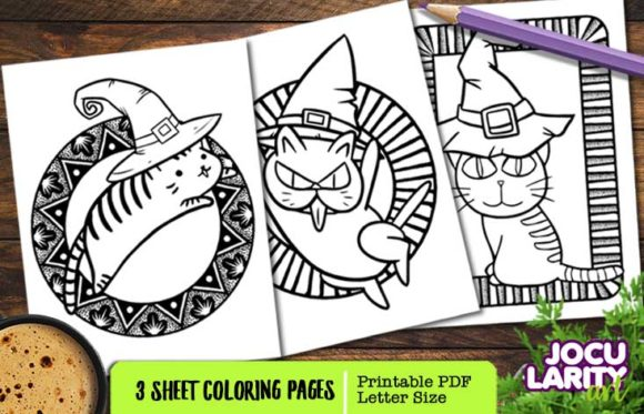 Cute Kawaii Cat Halloween Coloring Pages Graphic Coloring Pages & Books Kids By JocularityArt