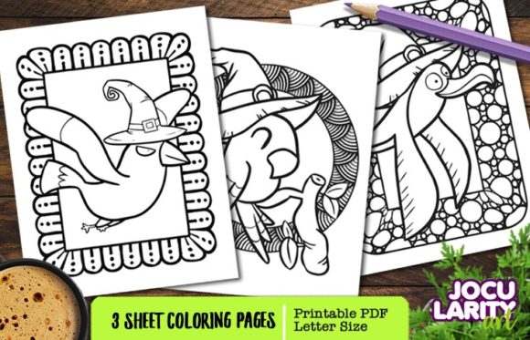 Cute Kawaii Halloween Bird Coloring Page Graphic Coloring Pages & Books Kids By JocularityArt